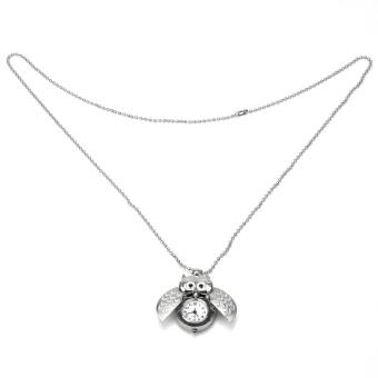 New Fashion Punk Silver Tone Owl Pendant Chain Necklace Quartz Pocket Watch