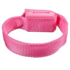 NEW Flashing Gear Glowing LED Wrist Band Lights Flash Nylon Cuff Party Bracelet Pink