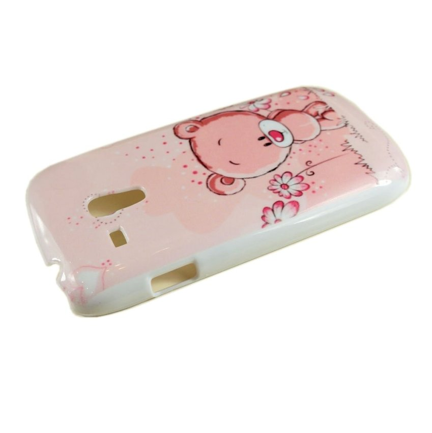 New for Samsung Galaxy S3 mini i8190 Fashion Cute Sweet Pink Flower Bear Back Skin Case Cover (Intl)