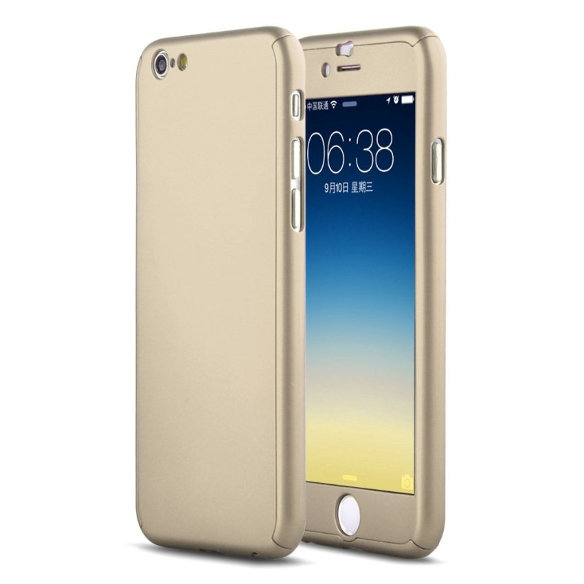 New Front + Back Hard Case Full Body with Tempered Glass for iPhone 6S Plus Gold (Intl)