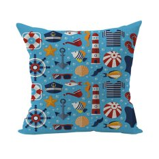 New Retro Cotton Square Nautical Throw Pillow Cushion Case Cover Home Office Room Bed Gift - Intl