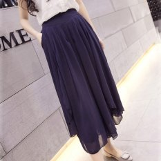 New Summer Thin Chiffon Loose Type Wide Leg Pants Cropped Trousers (Dark Blue) - Intl