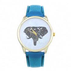 New Women Elephant Printing Pattern Weaved Leather Quartz Dial Watch (Blue) (Intl)