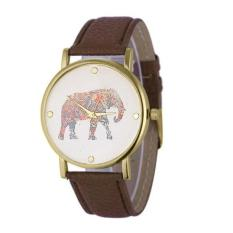New Women Elephant Printing Pattern Weaved Leather Quartz Dial Watch Brown Free Shipping
