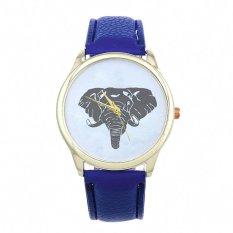 New Women Elephant Printing Pattern Weaved Leather Quartz Dial Watch Dark Blue (Intl)