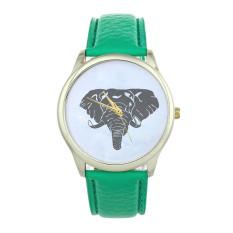 New Women Elephant Printing Pattern Weaved Leather Quartz Dial Watch Green (Intl)