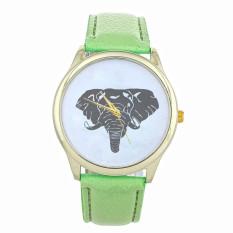 New Women Elephant Printing Pattern Weaved Leather Quartz Dial Watch (Mint Green) (Intl)
