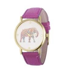 New Women Elephant Printing Pattern Weaved Leather Quartz Dial Watch Purple Free Shipping