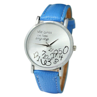 New Women Leather Watch Who Cares I Am Late Anyway Letter Watches Light Blue