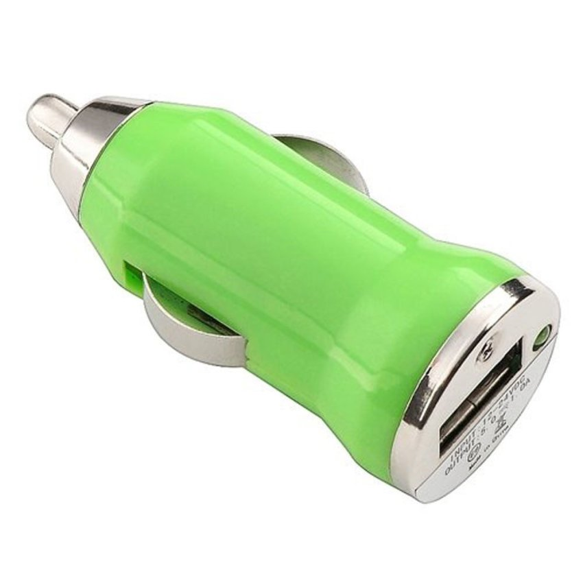 niceEshop Green Mini Universal Plastic USB Car Charger Vehicle Power Adapter for Mobiles