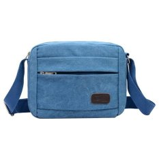NiceEshop Men's Vintage Canvas School Bag Messenger Shoulder Bags, Blue - Intl