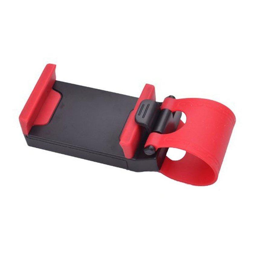 niceEshop Multi-functional Hands Free Mobile Phone Holder Buckle Socket on Car Steering Wheel, Black and Red (Intl)