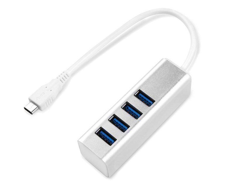niceEshop Seenda Aluminum 4-port USB 3.1 Supper Speed HUB USB Charger(Silver)