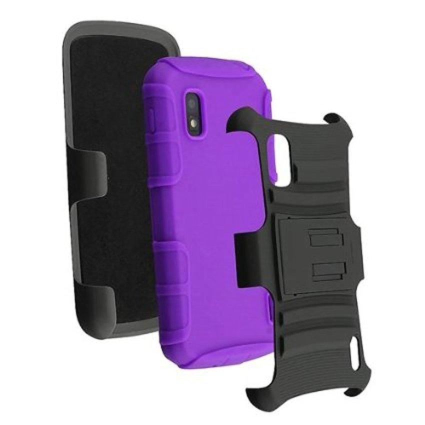 niceEshop Silicone Black PC Plastic Swivel Belt Clip Double Stand Armor Hybrid Slide Case Cover for LG E960 Google Nexus 4 (Purple) (Intl)