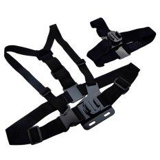 NiceEshop Sports Adjustable 360 Degree Harness Elastic Chest Strap And Head Strap Mount Belt For Gopro 1 2 3 3.4 (Black)