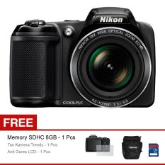 Nikon Coolpix L340 Kamera Digital - 20.2 MP - Hitam + Gratis SD Card 8GB + Tas + Anti Gores LCD