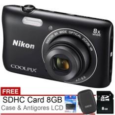 Nikon Coolpix S3700 Wifi & NFC - 20MP - 8x Optical Zoom - Hitam + Gratis SDHC 8GB + Case + Antigores