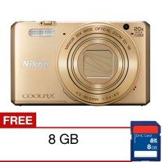 Nikon Coolpix S7000 Wifi/NFC Digital Camera - 16MP - 20X Optical Zoom - Emas + SDHC 8GB