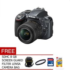 Nikon D3300 - 24 MP - Lensa Kit 18-55mm VR II - Hitam + Free SDHC 8 GB+Filter UV+Tas Kamera+ Sceen Guard