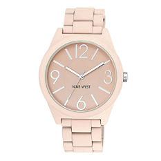 Nine West Women's NW / 1679PKPK Matte Pink Rubberized Bracelet Watch (Intl)