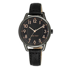 Nine West Women's NW / 1699GNBK Easy-To-Read Dial Watch With Black Faux-Leather Band (Intl)