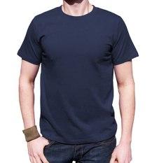 Niza Kaos Polos Tshirt Round O Neck Lengan Pendek Kualitas Distro Cotton Combed 20S Harga Murah Nyaman Dipakai Tsop003-Biru Dongker Navy