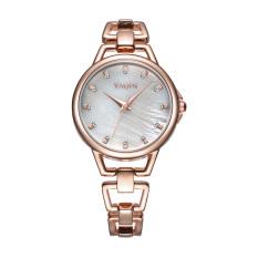 Nonof YAQIN Fashion Bracelet Dress Women Luxury Quartz Watch Rhinestone Scale Rose Gold Alloy Band Watches Wristwatches (Rose Gold White)