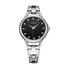 Nonof YAQIN Fashion Bracelet Dress Women Luxury Quartz Watch Rhinestone Scale Rose Gold Alloy Band Watches Wristwatches (Silver Black)