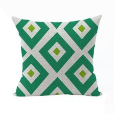 Nunubee Vintage Cotton Pillowcase Decorative Cushion Cover Square Home Pillowcase For Sofa Green 1 - Intl
