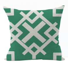 Nunubee Vintage Cotton Pillowcase Decorative Cushion Cover Square Home Pillowcase For Sofa Green 5 - Intl