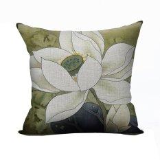 Nunubee Vintage Flower Pillow Cases Cotton Linen Cushion Cover Home Pillowcase Lotus Throw Pillow Style 6 - Intl