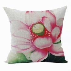 Nunubee Vintage Flower Pillow Cases Cotton Linen Cushion Cover Home Pillowcase Lotus Throw Pillow Style 8 - Intl