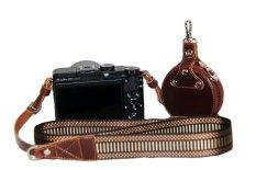 Nylon Shoulder Neck Strap Camera Strap + Lens Cap Pouch For Camera Canon G3X Dedicated SLR (Coffee) - Intl