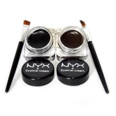 NYX Waterproof Cosmetics Eye Liner Makeup Eye Brush Gel Eyeliner 2Pcs