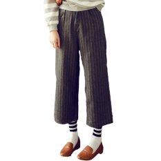 OASAP Fashion Stripe Printed Zipped Wide Leg Cropped Pants (Grey)