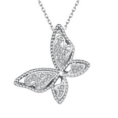 OEM N061-C High Quality Nickle Free Antiallergic New Fashion Jewelry White Plated Zircon Necklace (Intl)