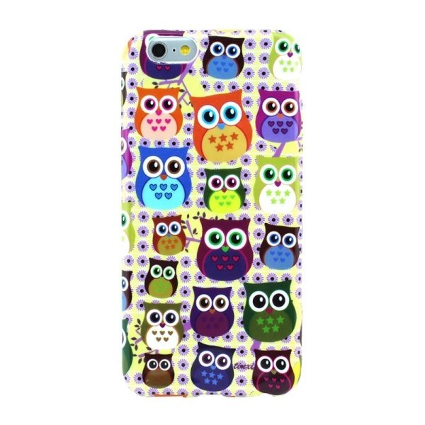 OEM Smooth Surface Colourful Owl Pattern TPU Case Untuk iPhone 6 - Multiwarna