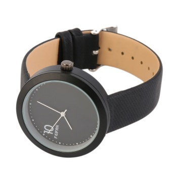 OH Vintage Fashion Men Women Round Case Faux Leather Band Quartz Wrist Watch Black & Black