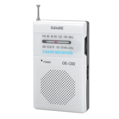 OJADE OE-1202 Mini Portable AM / FM 2-Band Radio - White + Black (2 X AA) - Intl