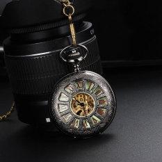 Ooplm Automatic SelfWind Pocket Watch Transparent Back Cover Luminous Dial Hollow Skeleton Design (Blue)