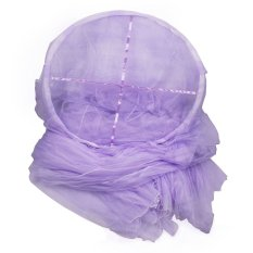 Ooplm Instant Installtion Double Layer Elegant Round Lace Curtain Dome Bed Canopy Netting Princess Mosquito Net, Purple
