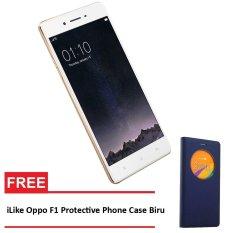Oppo F1 - 16 GB - Gold + Gratis iLike Oppo F1 Protective Phone Case - Biru