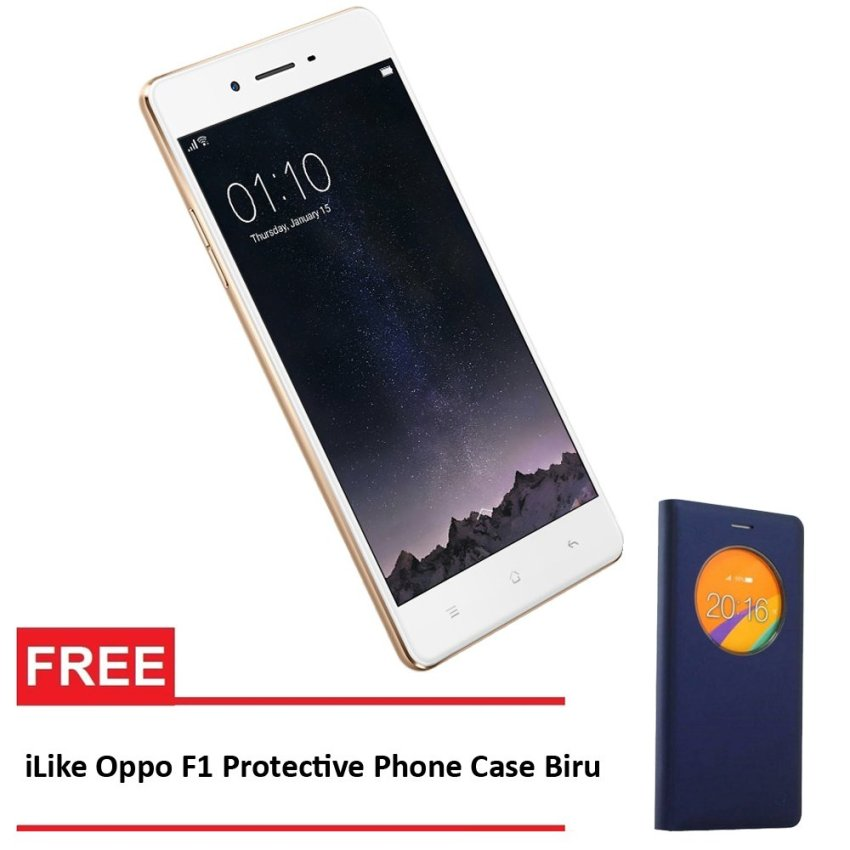 Oppo F1 - 16 GB - Gold + Gratis iLike Oppo F1 Protective Phone Case - Biru