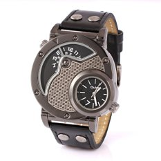 OULM Multi-Function Quartz Men's Dual Time Zone Military Army Quartz Business Sport Wristwatch HP9591_Black