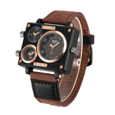 OULM Sailcloth Strap Men Watches Movt Three Time Zone Watch Men's Casual Quartz Wristwatch, Coffee - Intl