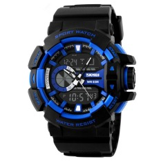 Outdoor Sports Watches Men LED Digital Watch Military Men Sports Watches (Blue)
