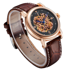 Ouyawei Skeleton Leather Strap Automatic Mechanical Watch - OYW1343 - Golden
