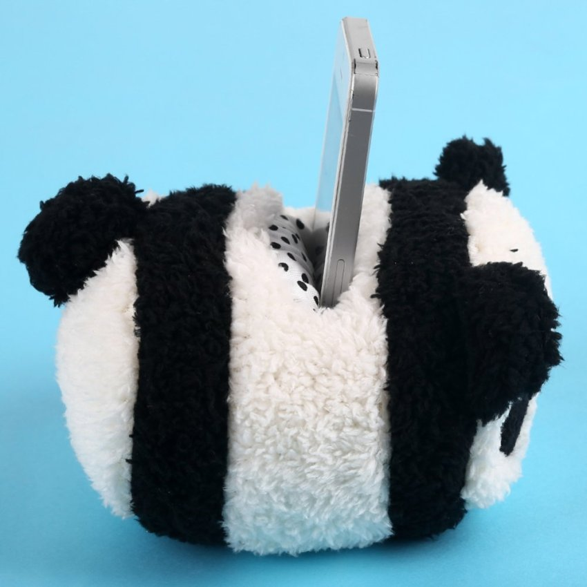 Panda Plush Mobile Phone Holder (Black) (Intl)