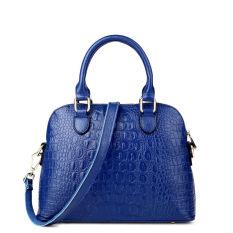 PASTE Women Leather Handbag Medium Tote Bag Luxury Alligator Grain Designer Handbags Ladies Messenger Bags Genuine Leather Fashion Shoulder Bag Brands Crossbody For Women (Blue)