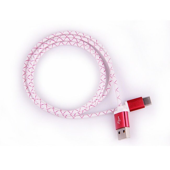 Pattern Aluminum USB 1 Meter Type C to USB 2.0 Male - Merah